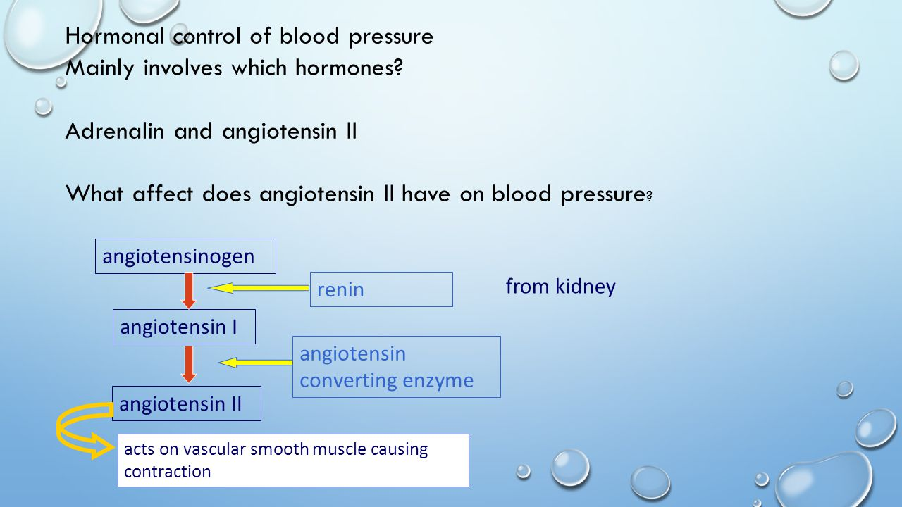 Hormonal control of blood pressure Mainly involves which hormones.