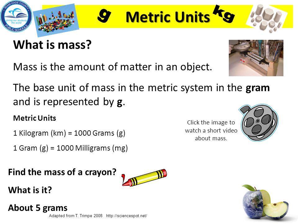 Department of Mathematics and Science What tools do scientists use to measure mass.