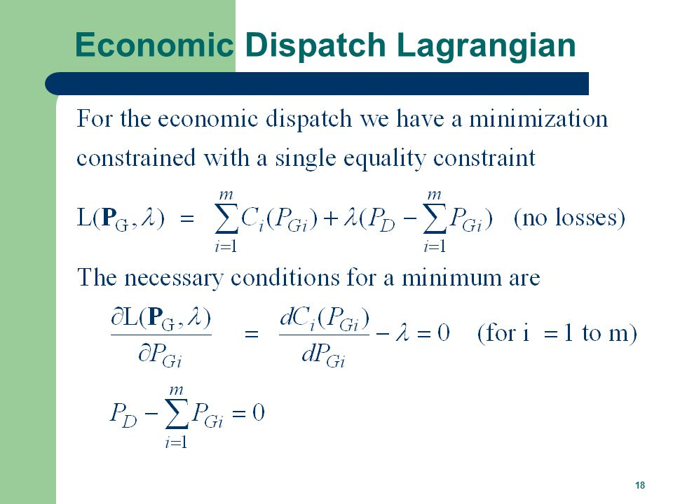 18 Economic Dispatch Lagrangian