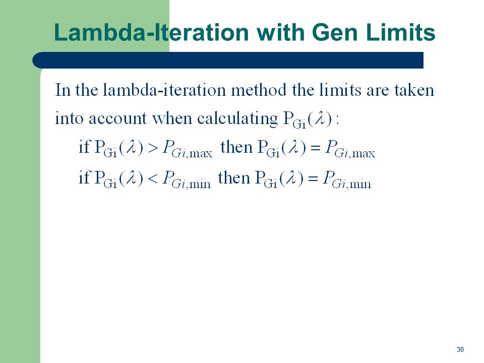 30 Lambda-Iteration with Gen Limits