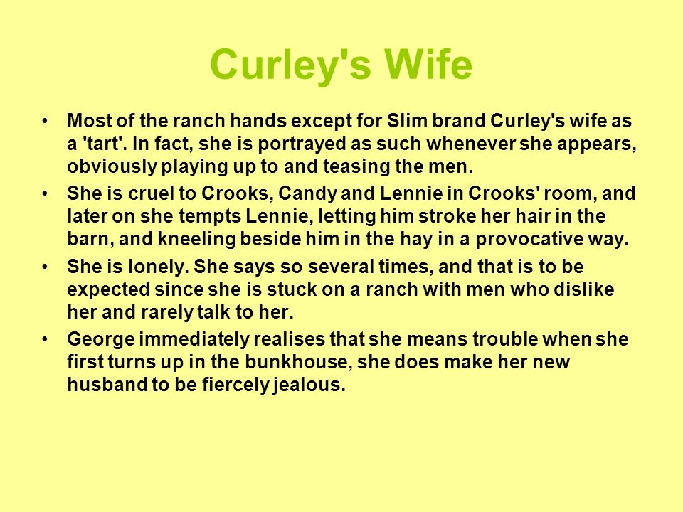 essay about curleys wife The novel is a microcosm, a cross section of society reflecting the prejudice blacks had no rights in america they were seen as 'nobody's women too had very few rights.