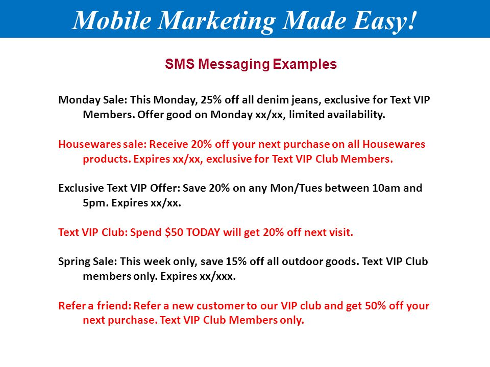 SMS Messaging Examples Mobile Marketing Made Easy.