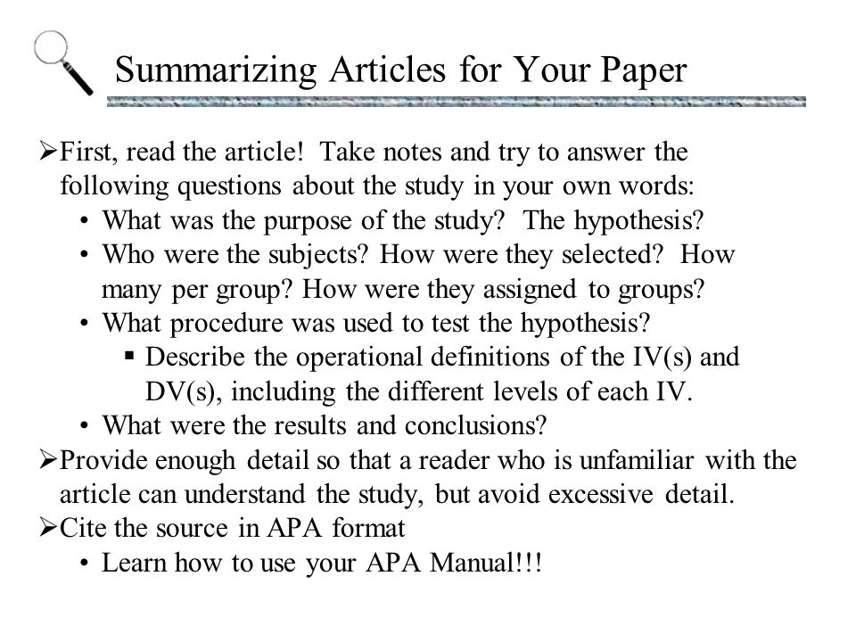 How do you summarize this article?
