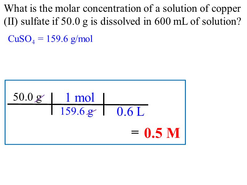 What is the molar concentration of a solution of copper (II) sulfate if 50.0 g is dissolved in 600 mL of solution.