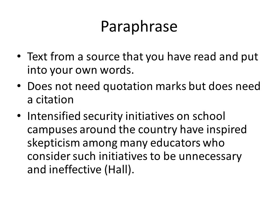Paraphrasing citation mla