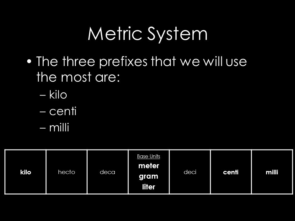 The metric system is based on a base unit that corresponds to a certain kind of measurement Length = meter Volume = liter Weight (Mass) = gram Prefixes plus base units make up the metric system –Example: Centi + meter = Centimeter Kilo + liter = Kiloliter
