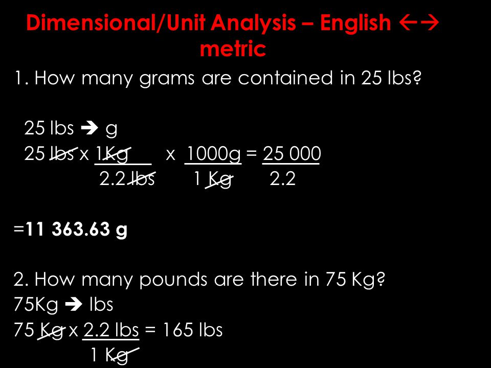 Dimensional/ Unit Analysis – metric to metric 1. How many meters are contained in 800cm.