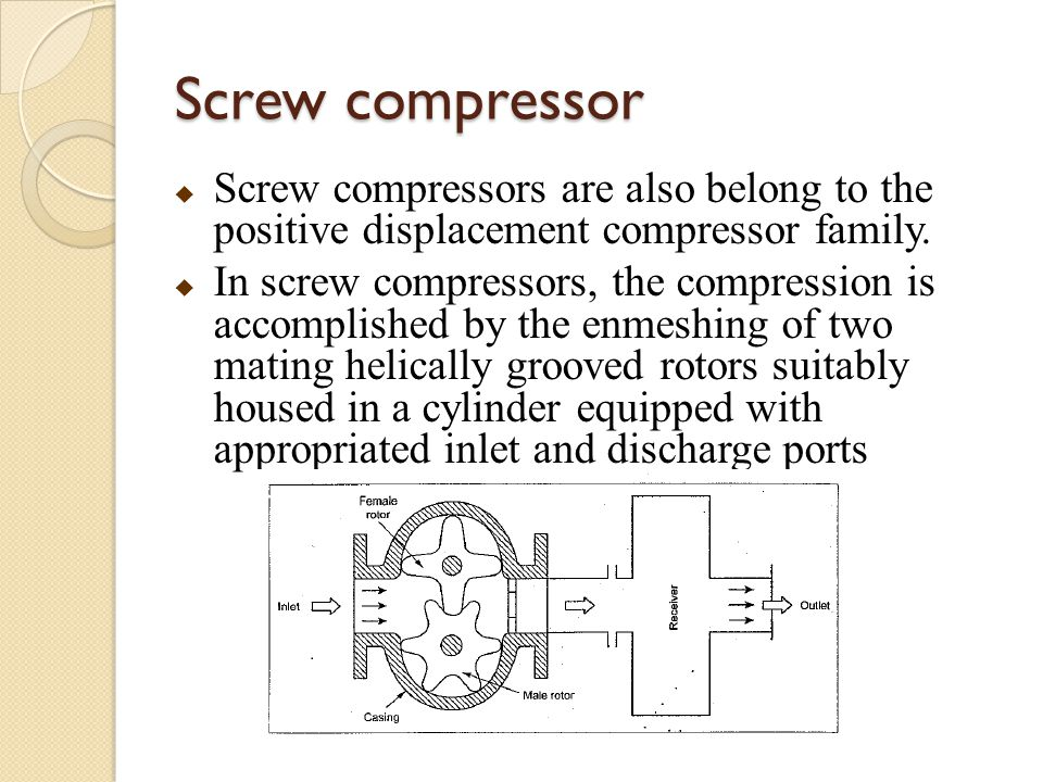 Screw compressor  Screw compressors are also belong to the positive displacement compressor family.