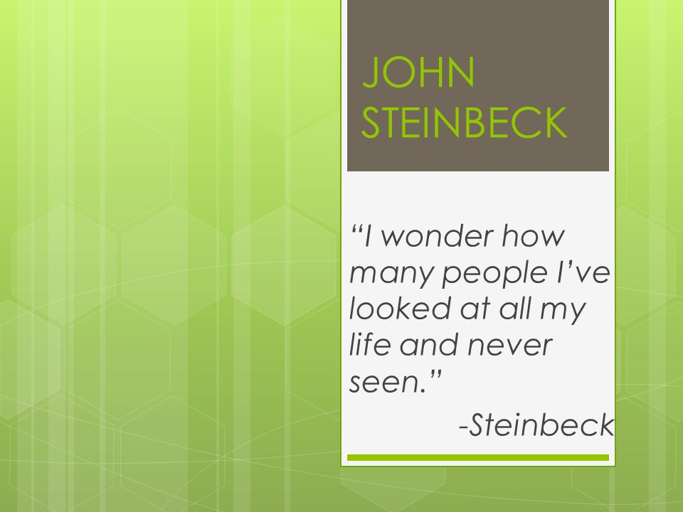 JOHN STEINBECK I wonder how many people I've looked at all my life and never seen. -Steinbeck