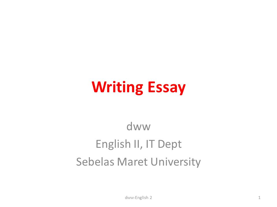 Essays Writing In English