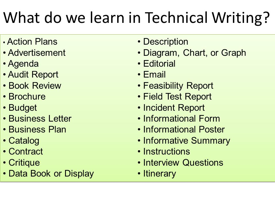 Technical writer business plan