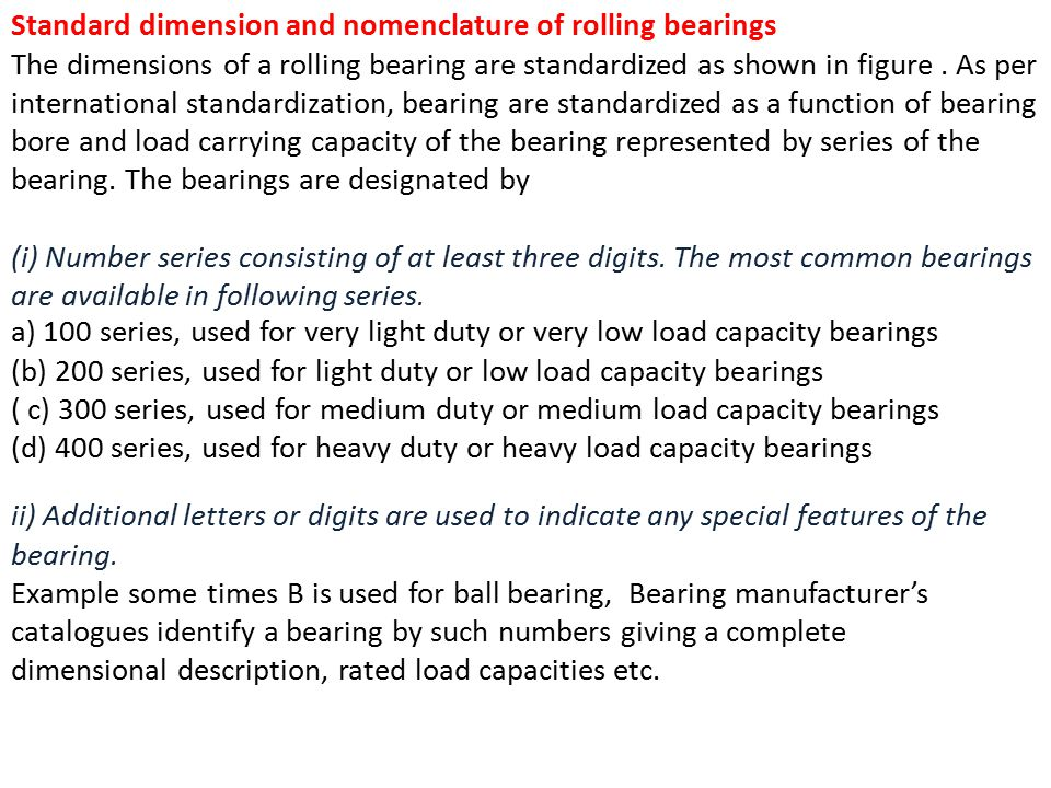 Standard dimension and nomenclature of rolling bearings The dimensions of a rolling bearing are standardized as shown in figure.