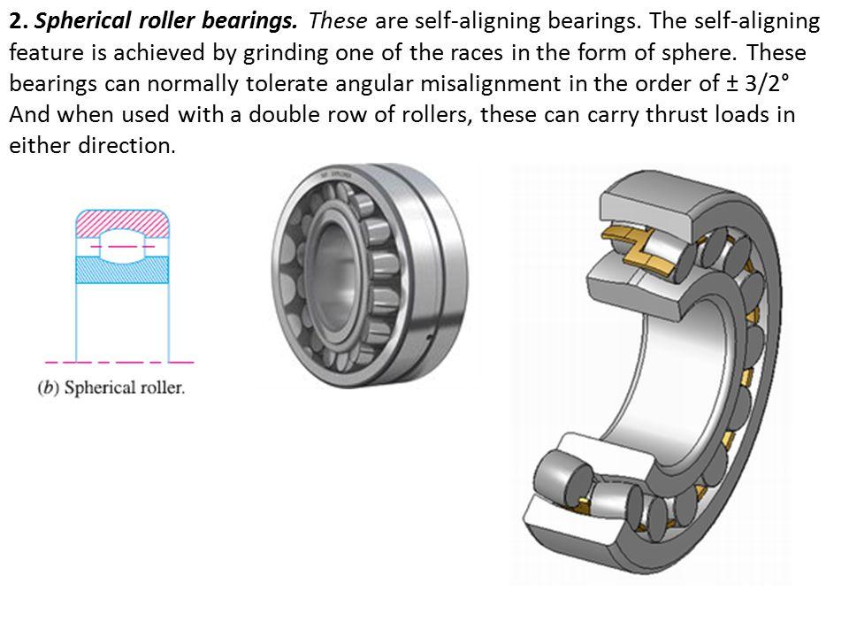 2.Spherical roller bearings. These are self-aligning bearings.