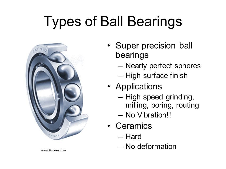 Types of Ball Bearings Super precision ball bearings –Nearly perfect spheres –High surface finish Applications –High speed grinding, milling, boring, routing –No Vibration!.