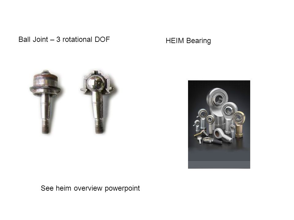 Ball Joint – 3 rotational DOF HEIM Bearing See heim overview powerpoint