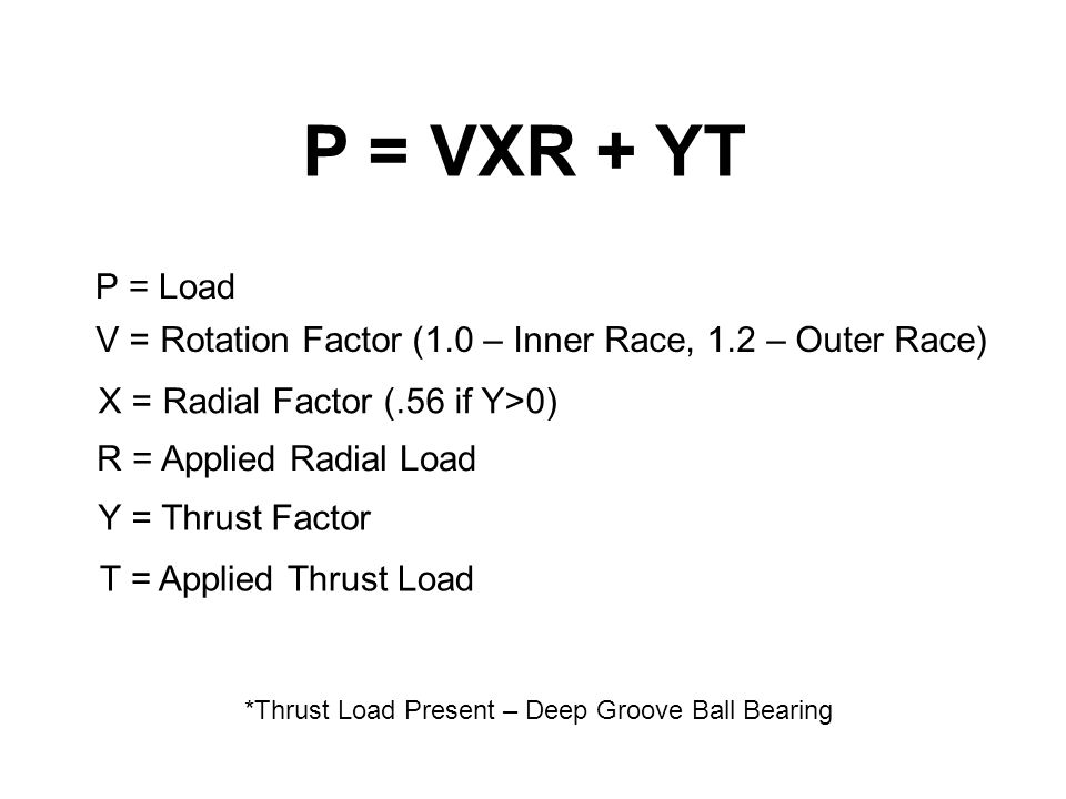 P = VXR + YT P = Load V = Rotation Factor (1.0 – Inner Race, 1.2 – Outer Race) X = Radial Factor (.56 if Y>0) R = Applied Radial Load Y = Thrust Factor T = Applied Thrust Load *Thrust Load Present – Deep Groove Ball Bearing