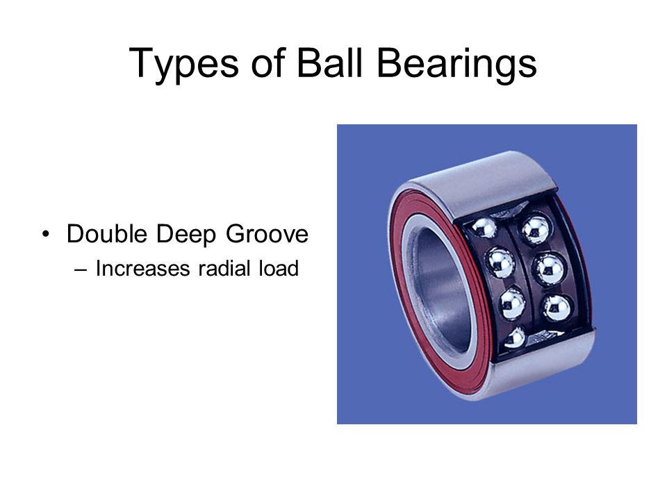 Types of Ball Bearings Double Deep Groove –Increases radial load