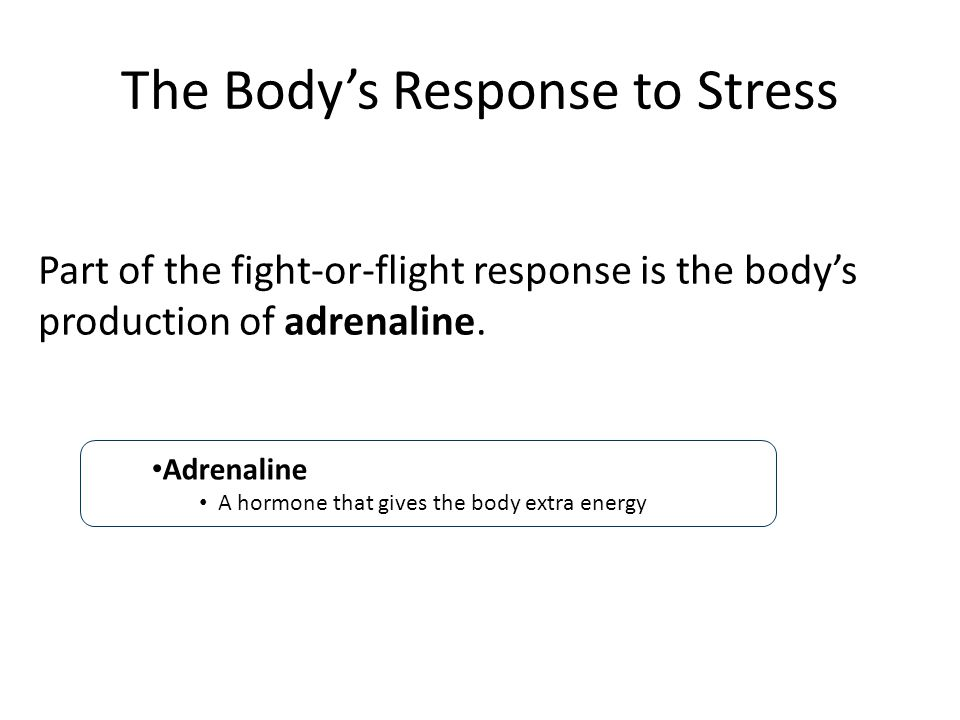 The Body's Response to Stress Part of the fight-or-flight response is the body's production of adrenaline.