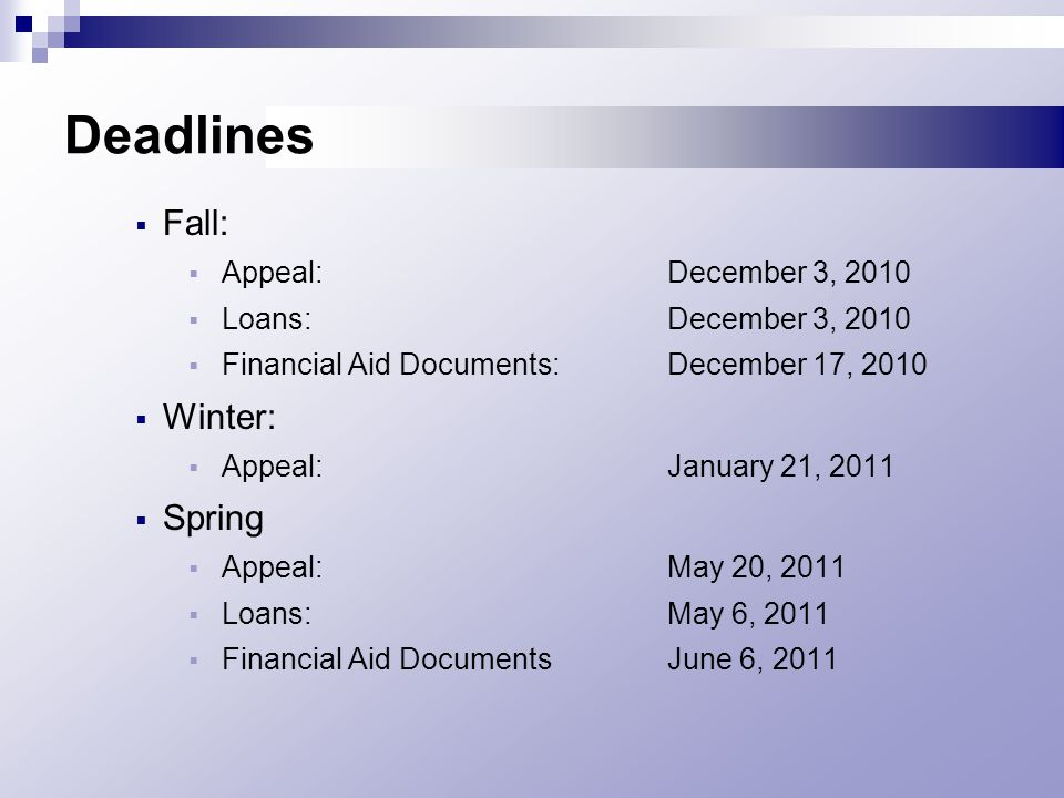 Deadlines  Fall:  Appeal: December 3, 2010  Loans:December 3, 2010  Financial Aid Documents:December 17, 2010  Winter:  Appeal:January 21, 2011  Spring  Appeal:May 20, 2011  Loans:May 6, 2011  Financial Aid DocumentsJune 6, 2011