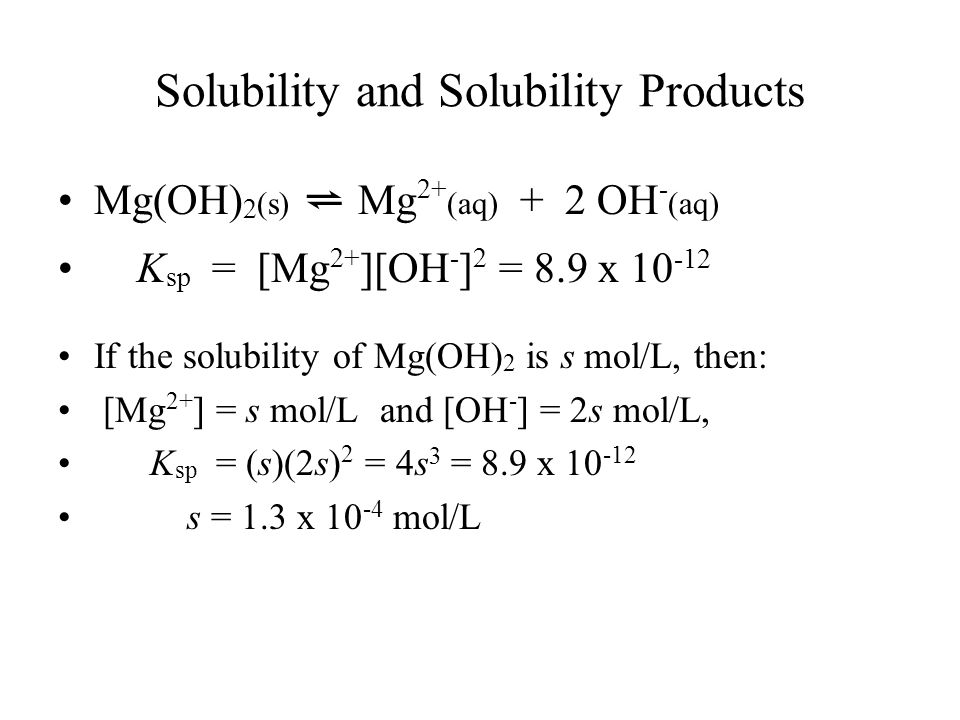 Solubility and Solubility Products Mg(OH) 2 (s) ⇌ Mg 2+ (aq) + 2 OH - (aq) K sp = [Mg 2+ ][OH - ] 2 = 8.9 x If the solubility of Mg(OH) 2 is s mol/L, then: [Mg 2+ ] = s mol/L and [OH - ] = 2s mol/L, K sp = (s)(2s) 2 = 4s 3 = 8.9 x s = 1.3 x mol/L
