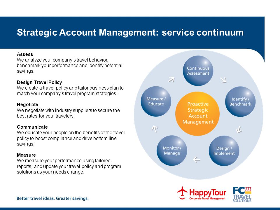 Strategic Account Management: service continuum Assess We analyze your company's travel behavior, benchmark your performance and identify potential savings.