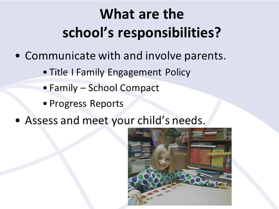 What are the school's responsibilities. Communicate with and involve parents.