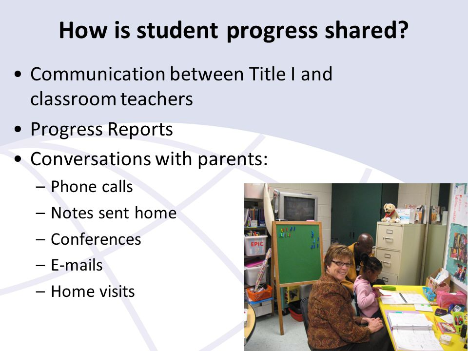 How is student progress shared.