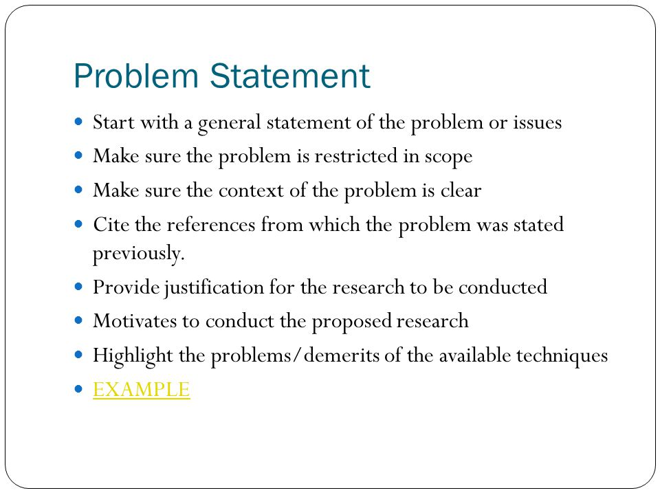 Developing The Problem Statement Dissertation