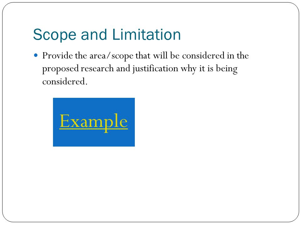 Scope And Limitation Thesis