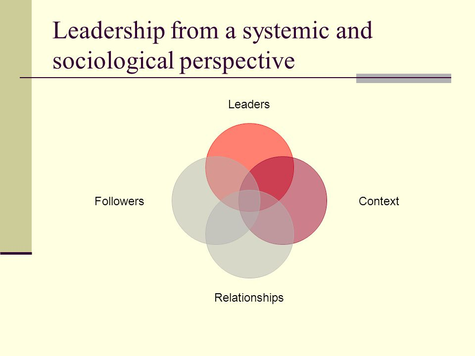 Leadership from a systemic and sociological perspective Leaders Context Relationships Followers