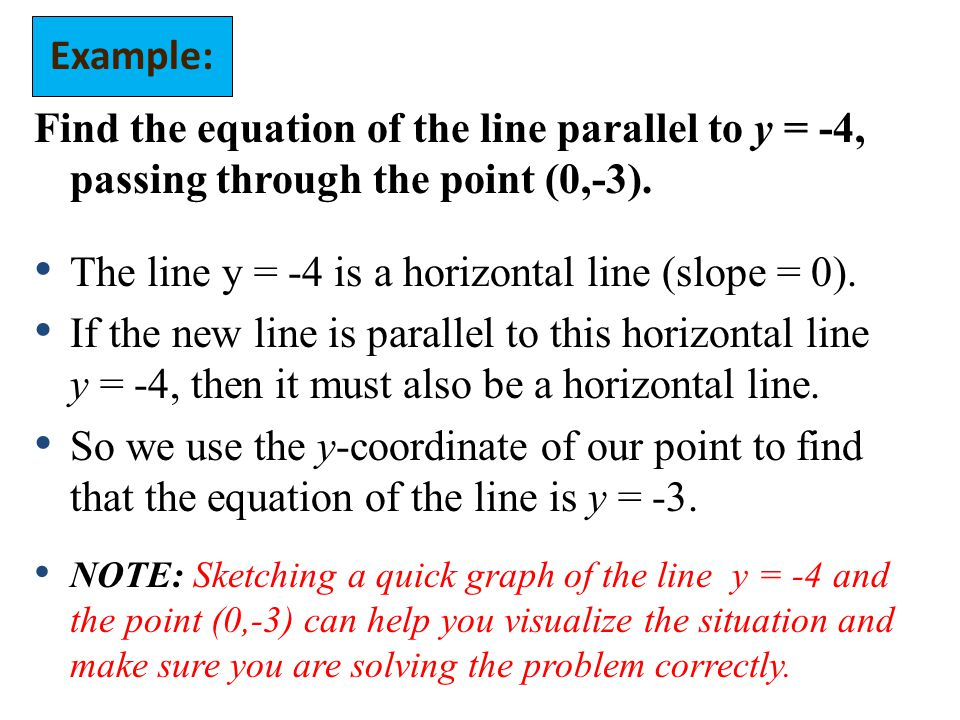 Find the equation of the line parallel to y = -4, passing through the point (0,-3).