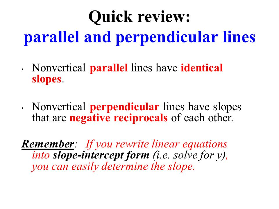 Nonvertical parallel lines have identical slopes.