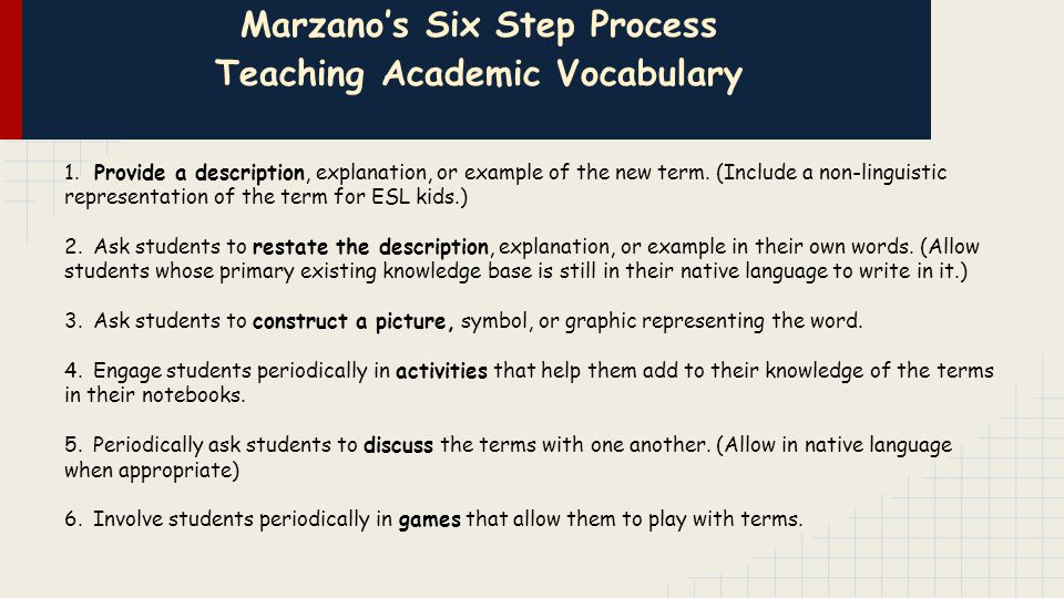 Marzano's Six Step Process Teaching Academic Vocabulary 1.