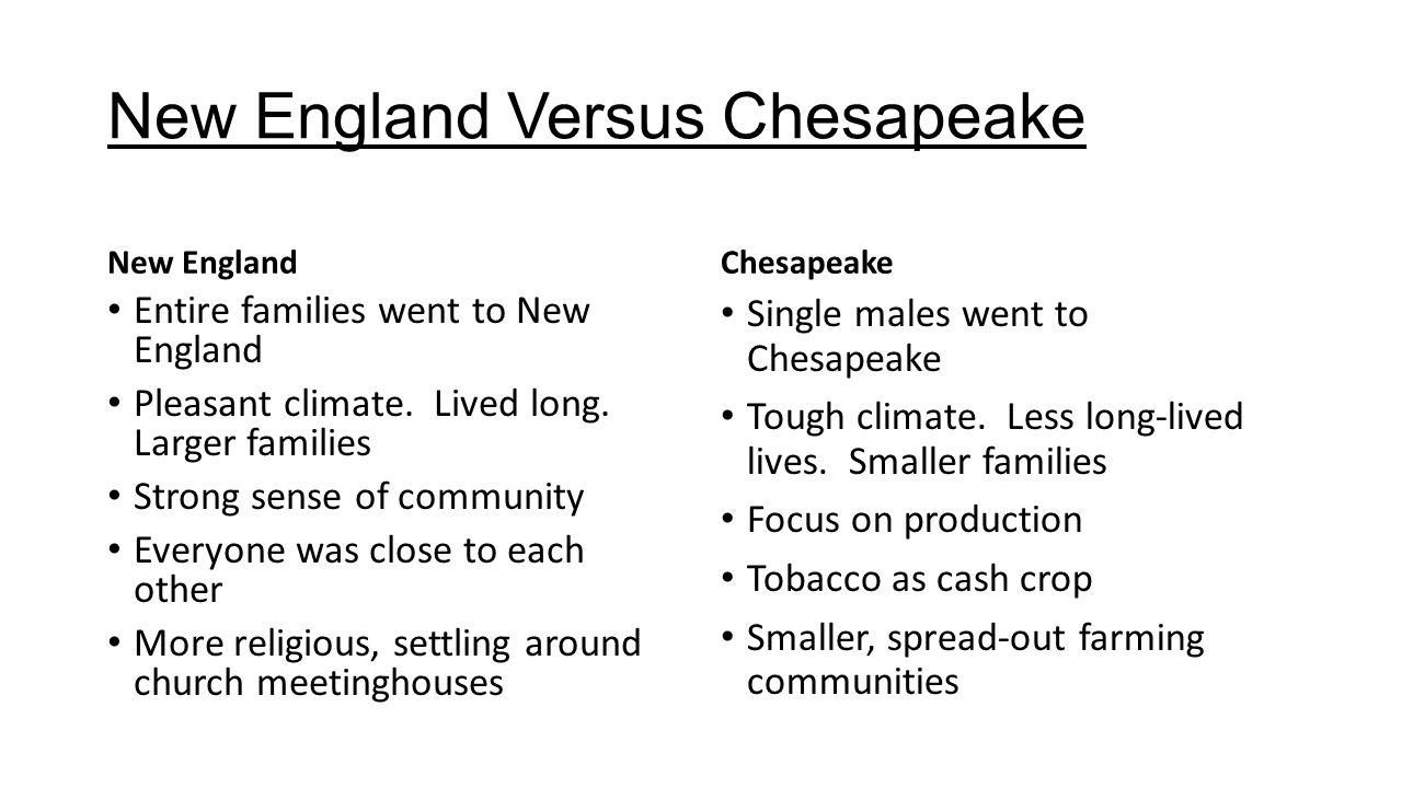 chesapeake vs new england colony development