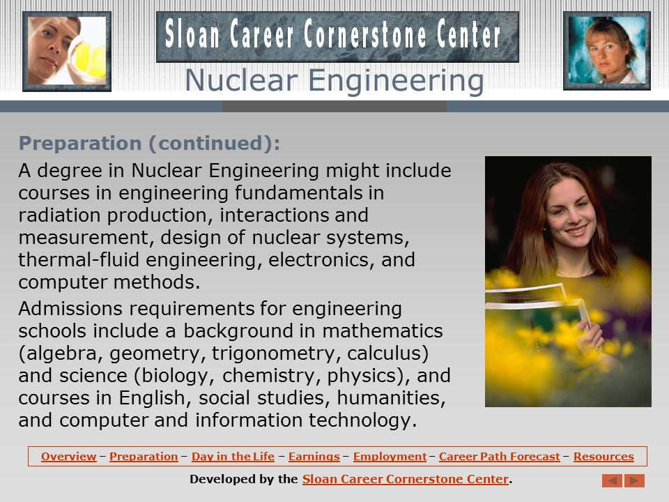 Nuclear Engineering Preparation: A bachelor s degree in engineering is required for almost all entry-level engineering jobs.