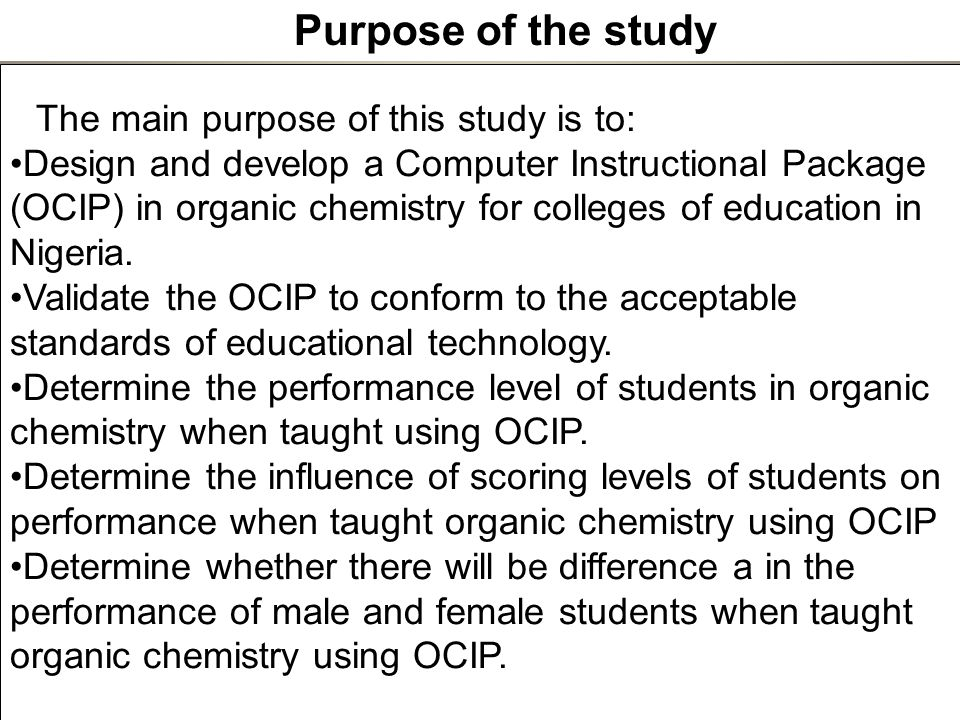 Chemistry research proposal