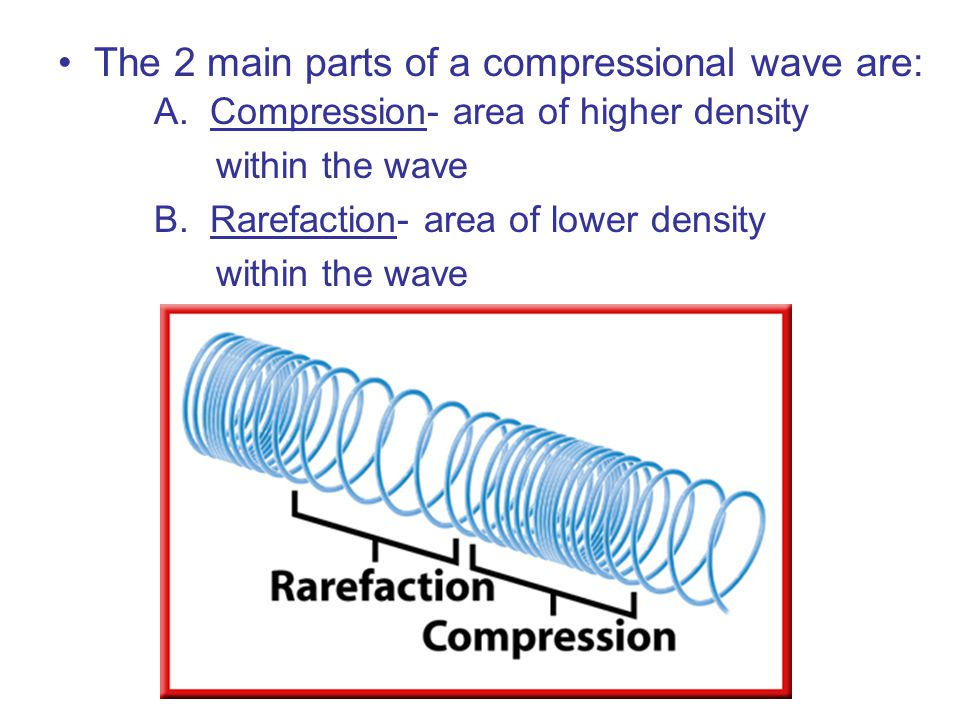 The 2 main parts of a compressional wave are: A.