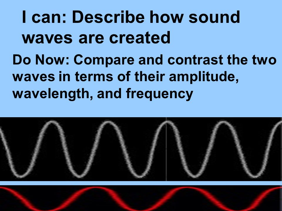 I can: Describe how sound waves are created Do Now: Compare and contrast the two waves in terms of their amplitude, wavelength, and frequency