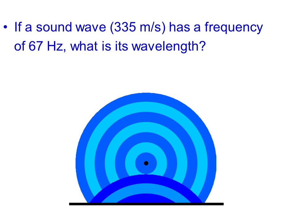 If a sound wave (335 m/s) has a frequency of 67 Hz, what is its wavelength