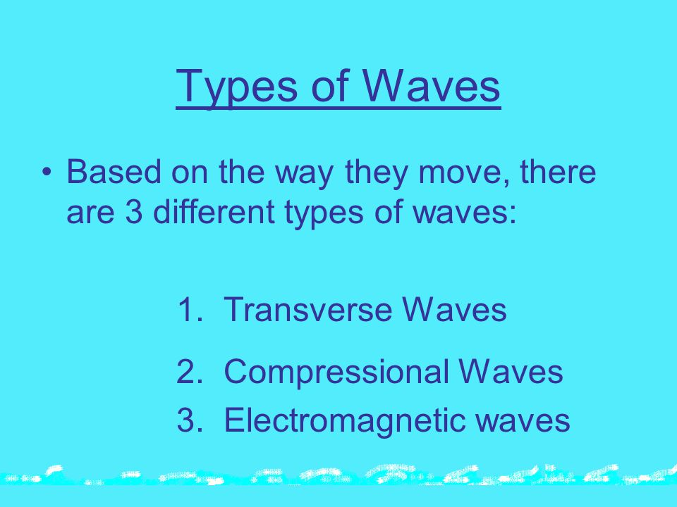 Types of Waves Based on the way they move, there are 3 different types of waves: 1.