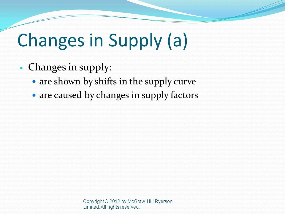 Changes in Supply (a) Changes in supply: are shown by shifts in the supply curve are caused by changes in supply factors Copyright © 2012 by McGraw-Hill Ryerson Limited.