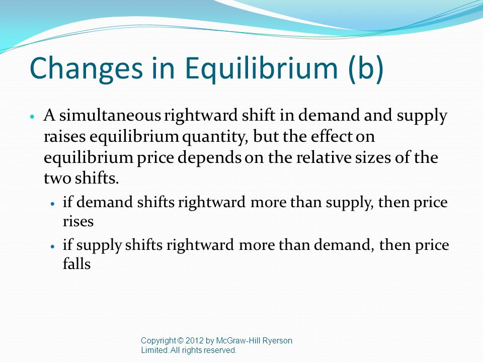 Changes in Equilibrium (b) A simultaneous rightward shift in demand and supply raises equilibrium quantity, but the effect on equilibrium price depends on the relative sizes of the two shifts.