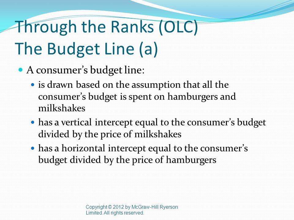 Through the Ranks (OLC) The Budget Line (a) A consumer's budget line: is drawn based on the assumption that all the consumer's budget is spent on hamburgers and milkshakes has a vertical intercept equal to the consumer's budget divided by the price of milkshakes has a horizontal intercept equal to the consumer's budget divided by the price of hamburgers Copyright © 2012 by McGraw-Hill Ryerson Limited.