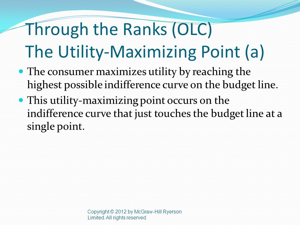 Through the Ranks (OLC) The Utility-Maximizing Point (a) The consumer maximizes utility by reaching the highest possible indifference curve on the budget line.