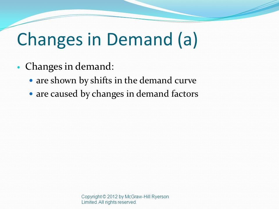 Changes in Demand (a) Changes in demand: are shown by shifts in the demand curve are caused by changes in demand factors Copyright © 2012 by McGraw-Hill Ryerson Limited.