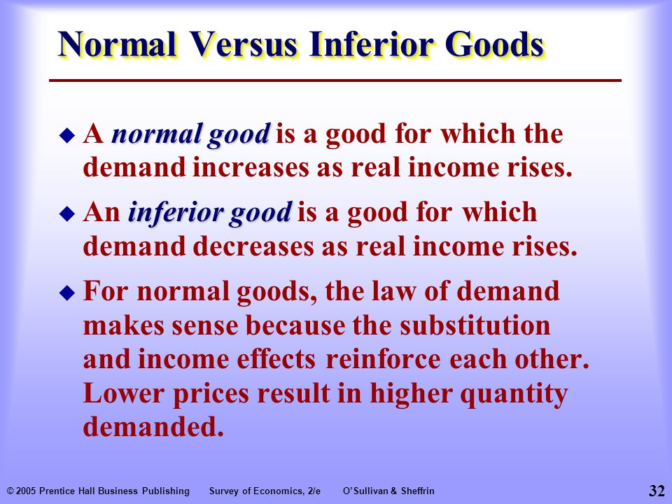 32 © 2005 Prentice Hall Business PublishingSurvey of Economics, 2/eO'Sullivan & Sheffrin Normal Versus Inferior Goods normal good  A normal good is a good for which the demand increases as real income rises.