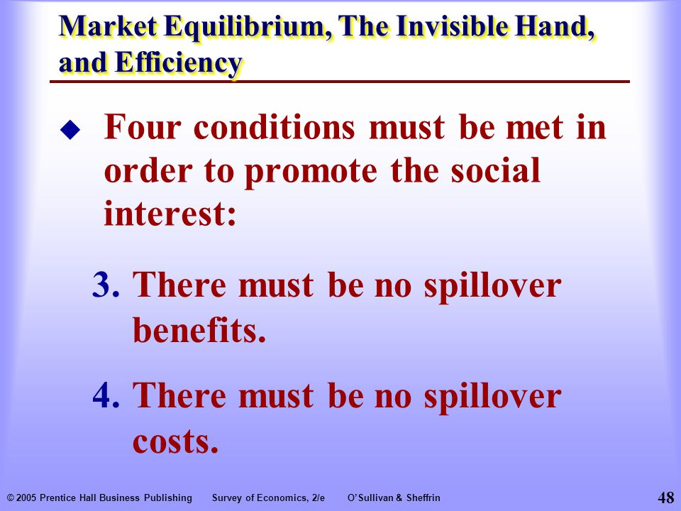 48 © 2005 Prentice Hall Business PublishingSurvey of Economics, 2/eO'Sullivan & Sheffrin  Four conditions must be met in order to promote the social interest: 3.There must be no spillover benefits.