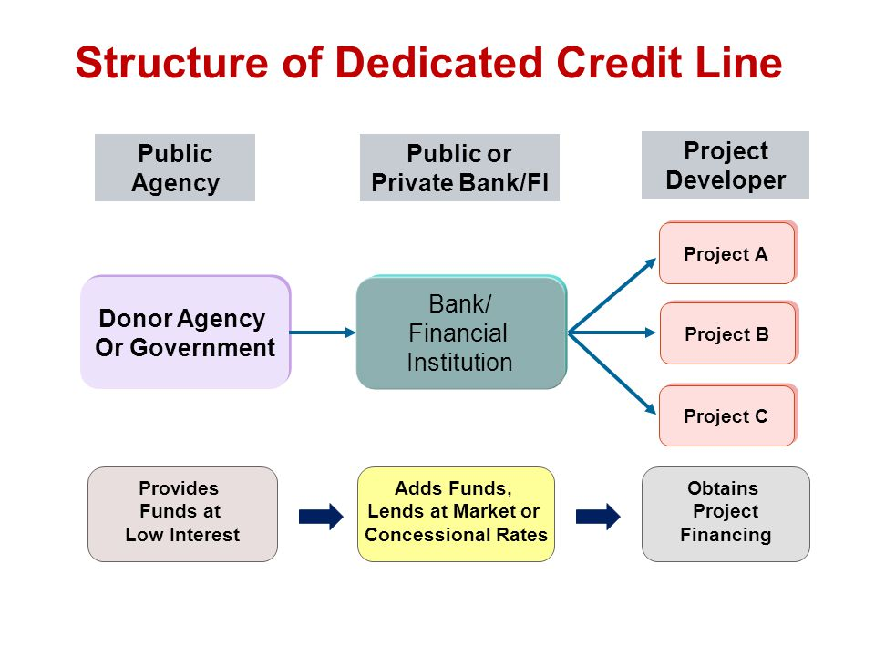 Structure of Dedicated Credit Line Bank/ Financial Institution Donor Agency Or Government Donor Agency Or Government Project A Project B Project C Provides Funds at Low Interest Adds Funds, Lends at Market or Concessional Rates Obtains Project Financing Public Agency Public or Private Bank/FI Project Developer