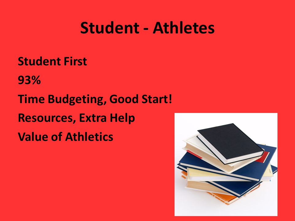 Student - Athletes Student First 93% Time Budgeting, Good Start.