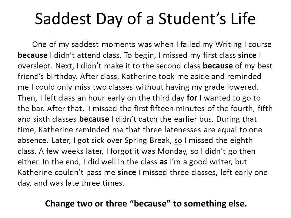 essay on saddest day of my life